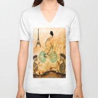 """tour de france V-neck T-shirts featuring Monsieur Bone and """" le  Tour de France """" by Ganech joe"""