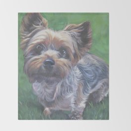 A realistic Yorkshire Terrier Portrait by L.A.Shepard fine art painting Throw Blanket