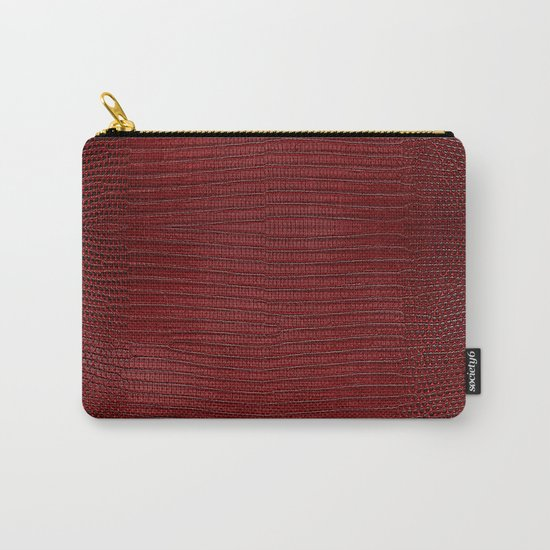 Red Lizard Leather Print Carry-All Pouch