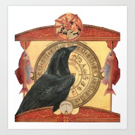 Crow with Goldfish Art Print