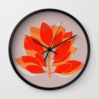 spice Wall Clocks featuring Blossom Spice by Garima Dhawan