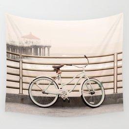 Bicycle at Manhattan Beach Pier, Riding Bikes at the Beach, Beach Art Print, California Summer Wall Tapestry