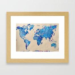 Watercolor World Map #1 Framed Art Print