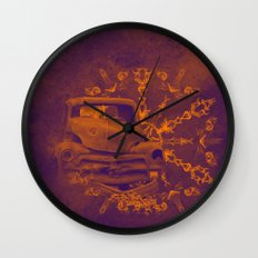 Abstract rusty car in purple and orange Wall Clock