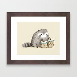 Raccoon on Bongos Framed Art Print