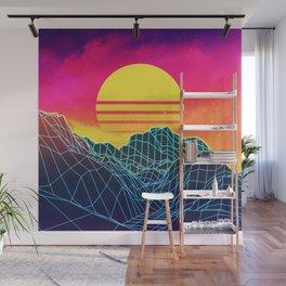 Neon glowing sun grid mountain Wall Mural