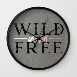 Wild and Free Rose Gold Wall Clock