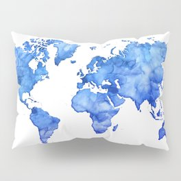 Cobalt blue watercolor world map Pillow Sham