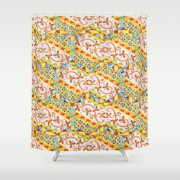 Pink Bonbon Hexagons Shower Curtain