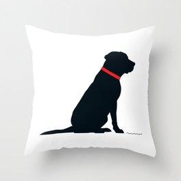 Modern Black Lab Silhouette Throw Pillow