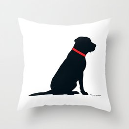 Modern Black Lab Silhouette Throw Pillow