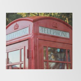 British Telephone Kiosk Throw Blanket