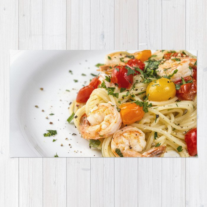 Spaghetti pasta with prawns Rug