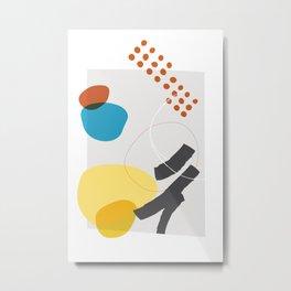 Shape & Hue Series No. 1 – Yellow, Orange & Blue Modern Abstract Metal Print