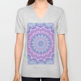 Beautiful Rose Blue Pastel Flower Mandala Unisex V-Neck