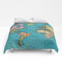 Vintage Map of The World (1897) Comforters