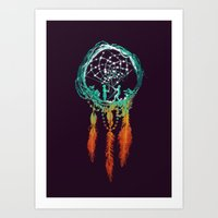 background Art Prints featuring Dream Catcher (the rustic magic) by Picomodi