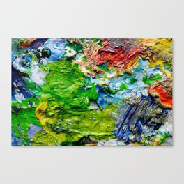 Artist palette with colorful paint spots Canvas Print