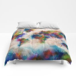 world map watercolor  Comforters
