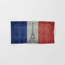 Flag of France with Eiffel Tower Vintage style Hand & Bath Towel
