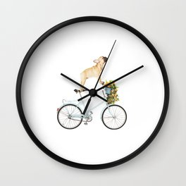 French Bulldog on Bicycle Wall Clock