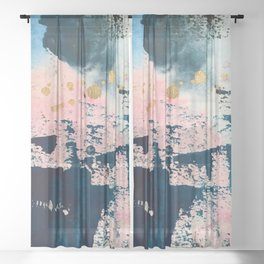 Candyland: a vibrant, colorful abstract piece in blue teal pink and gold by Alyssa Hamilton Art Sheer Curtain
