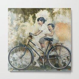 Children Ride Bicycle Graffiti Metal Print