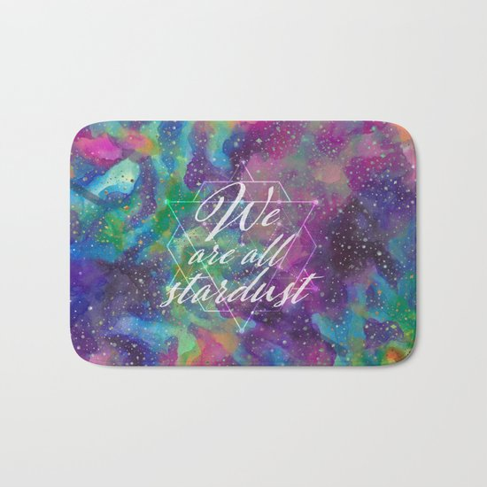 We Are All Stardust Watercolor Sacred Geometry Bath Mat