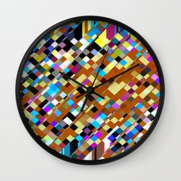 geometric square pixel pattern abstract background in brown yellow blue pink Wall Clock