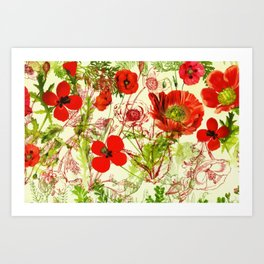 Vintage Red Green Poppies Summer Wildflowers Art Print
