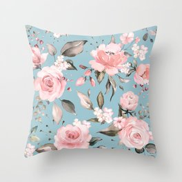 Pink Roses On Pastel Blue Background Floral Spring Pattern Throw Pillow