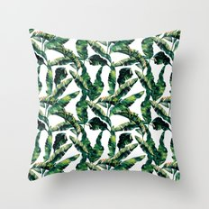 Banana Leaves Green on White Throw Pillow