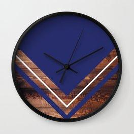 Navy & Wood Wall Clock