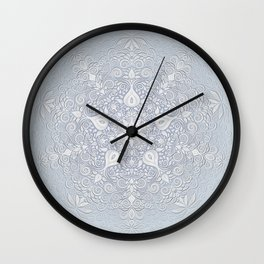 Baroque Garden, White on Blue, Watercolor Ornate Pattern Wall Clock