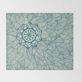 Emerald Green, Navy & Cream Floral & Leaf doodle Throw Blanket