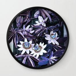 Muted Puce & Blue Passion Flowers Temple of Flora Wall Clock