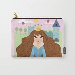 Fairy Tale Princess With Her Story Book Castle - Blue Dress Carry-All Pouch