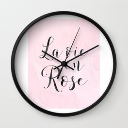 LA VIE En ROSE, French Quote,French Saying,French Print,Baby Girls Nursery,Girls Room Decor,Girly,Ho Wall Clock