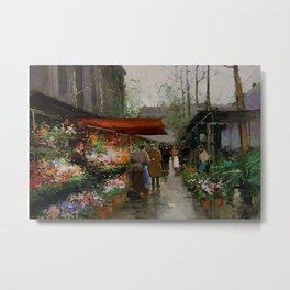 Paris Flower Market At La Madeleine by Edouard Cortes Metal Print