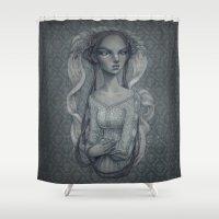 wedding Shower Curtains featuring White Wedding by Zan Von Zed