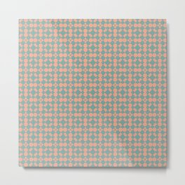 Tuscan Tile Pattern Modern Geometric Turquoise and Peach Metal Print