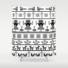 folk embroidery, black on white background. Collection of flowers, birds, peacocks, horse Shower Curtain
