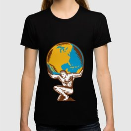 Atlas Lifting Globe Kneeling Woodcut T-shirt