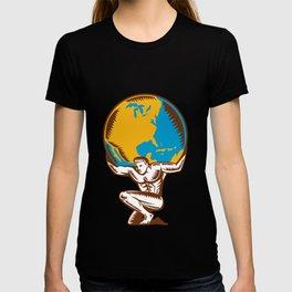 Atlas Lifting Globe Kneeling Woodcut T-shirt