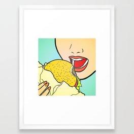 Burger Girl Framed Art Print