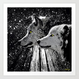 WOLF OF THE NIGHT FOREST Art Print