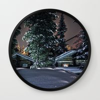finland Wall Clocks featuring Winter in Lapland Finland  by Guna Andersone & Mario Raats - G&M Studi