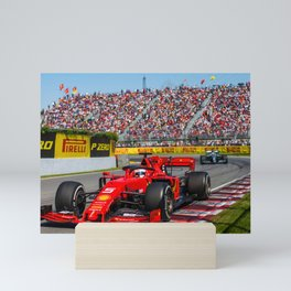 Sebastian Vettel racing in the 2019 Australian Grand Prix Mini Art Print