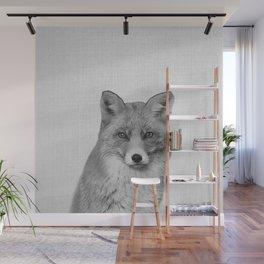 Fox - Black & White Wall Mural