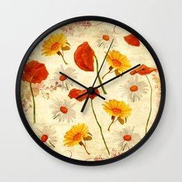 Wild Flowers Vintage Wall Clock